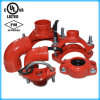 UL Listed, FM Approval Ductile Iron Grooved Mechanical Tee 168.3*73.0