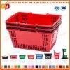 Standard Double Handle Plastic Portable Supermarket Shopping Basket (Zhb132)