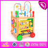 2015 Big Round Bead Multifunctional Trailer Toy, Interesting Wooden Baby Walker Toy, Wooden Walker Toy with Alphabet Rack W16e041
