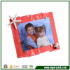Red Wooden Picture Frame Art with Starfish and Shell