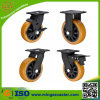 High Impact Orange PU on PP Core Heavy Duty Caster with Brake
