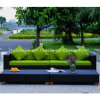PE Rattan Long Sofa with Matching Coffee Table for Outdoor