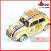 Antique Metal Car Model (1934 Beige-pink VW Beetle W/Shelf 1: 12-SCALE)