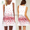 2017 Fashion Lady Sleeveless Suspender Dress with Floral Digital Printed