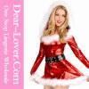 2016 Fancy Red PU Christmas Dance Costume