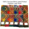 100% Viscose Hot Sale Fashion Ladies Ethnic Plaid Printed Scarf