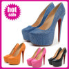 The Most Fashion Blue Canvas Shoes 16cm High Heeled Party Shoes 2014
