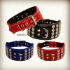 Rhinestone Flower Big Dog Collar, Leather Pet Collar