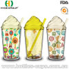 Double Wall Plastic Ice Cream Cup with Straw