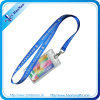 Popular Polyester Fashion Logo Blue Lanyard with ID Card Holder