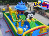 10m long Cartoon Inflatable Funcity with 3 slide and small castle