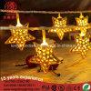 Indoor Xmas Ramadan Decorative String Light with Gold Iron Stars