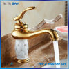 New Luxury Single Handle Golden Brass Basin Faucet