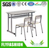 Metal Frame Wooden Double School Desk with Chair (SF-16D)