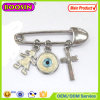 Fashion Jewelry Metal Chain Cross Evil Eye Boy Silver Brooch