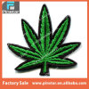 Hot Sale Retro Style Embroidery Badge Green Pot Leaf Custom Design Iron on Patch