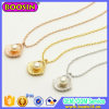 Gold Plated Chain Shell and Pearl Bead Pendant Necklace