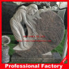 Hand Carved Red Granite Angel Tombstone