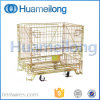 Folding Rolling Metal Steel Storage Wire Mesh Cages with Wheels