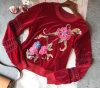 Custom Floral Red Velvet Jacket Fashion Blouse