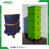 Durable Stack and Nestable Plastic Moving Crate with Dolly