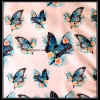 Polyester Silk Satin Fabric with Digital Butterfly Print for Garment/100% Polyester Satin Fabric