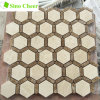 Hexagon Crema Marfil Mixed Emperador Marble Mosaic Tile