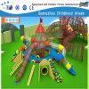 New Design Plastic with Wooden Slide Children Playground (H14-0879)