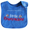 Custom Letters Embroidered Blue Cotton Terry Baby Bib Wear