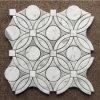 Beautifu Design Round Carrara White Waterjet Mosaic Marble Tile