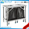 Hot Set Sale Classifying Garbage Trolley with Bend Leg Work Table for Flat Packing Easy Transport