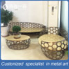 New Style 3+2+1 Stainless Steel Tea Table with Special-Shaped Chair