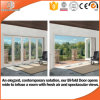 Japanese Frameless Folding Wood Aluminum Glass Doors, Powder Coating White Color Aluminum Sliding Folding Glass Door
