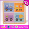 2015 Cheap Cute Car Design Kid Wooden Puzzle Toy, Colourful Children Wooden Jigsaw Puzzle, Hot Sale Wooden Puzzle Game Toy W14A118