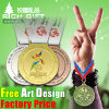 Factory Basketball Sports Champion Gold Medal with Ribbon