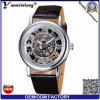 Yxl-839 2015 Leather Band Stainless Steel Skeleton Mechanical Men Watch for Man Gold Mechanical Sport Wristwatch