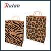 Brown Kraft Paper Leopard Printed Shopping Carrier Gift Paper Bag