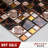 Rose Color Metal Plating Crystal Glass Mix Flower Pattern Mosaic Tile