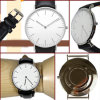 New Fashion Stainless Steel Case Genuine Leather Strap Dw Style Watch (DC-634)