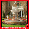 Red and White Marble Sculpture Water Fountain for Garden