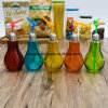 Factory Wholesale 5 Color Glass Bulb Juice Bottle with Straw 100009