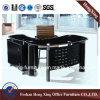 Modern L Shape Glass Executive Office Desk (HX-GL039)
