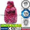 CE Fake Fur Plush Hot Water Bottle Cover Pink Leopard