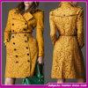 Women's Winter Overcoat Yellow, Long Coat, Straight Hem, Slim Fit, Double-Breasted Coat (FDS003)