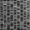 Black Mosaic Tile, Stone Mix Glass Mosaic (HGM252)