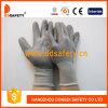 13 Gauge Grey Nylon Liner. Knit Wrist Grey PU Coated Gloves on Palm and Finger (DPU116)