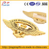 3D Zinc Alloy Gold Plating Metal Wing Shape Badge for Airforce