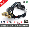 Hottest Style CREE 3xt6 Rechargeable LED Headlamp with Charger and 18650 Batteries