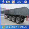 Side Gate and Fence Truck Driving Large Cargo Trailer