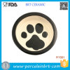 Black Brim Footprint Pet′s Fave Ceramic Pet Bowl